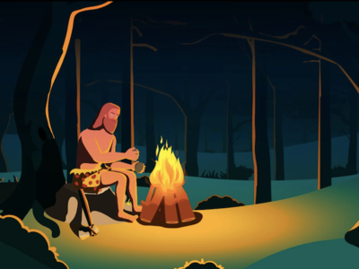 Stone Age Man design illustration animation