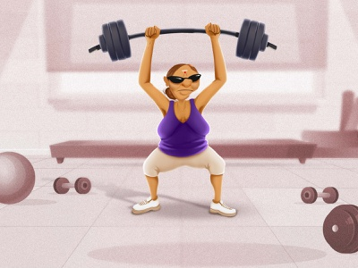 when grama can do workout at her age what's your motivation? design graphic-art creative design characterdesign illustration