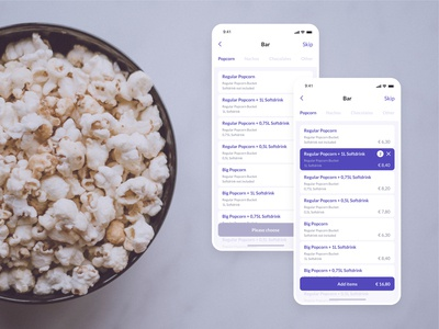 Haydn Kino Mobile App Design - Bar Pre-order