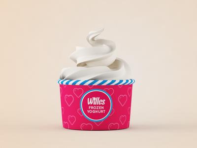 Wellness in a Cup logotype identity frozen yogurt 3d