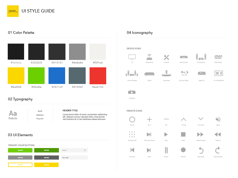 UI Style guide toolkit psd spec design guide ui style guide
