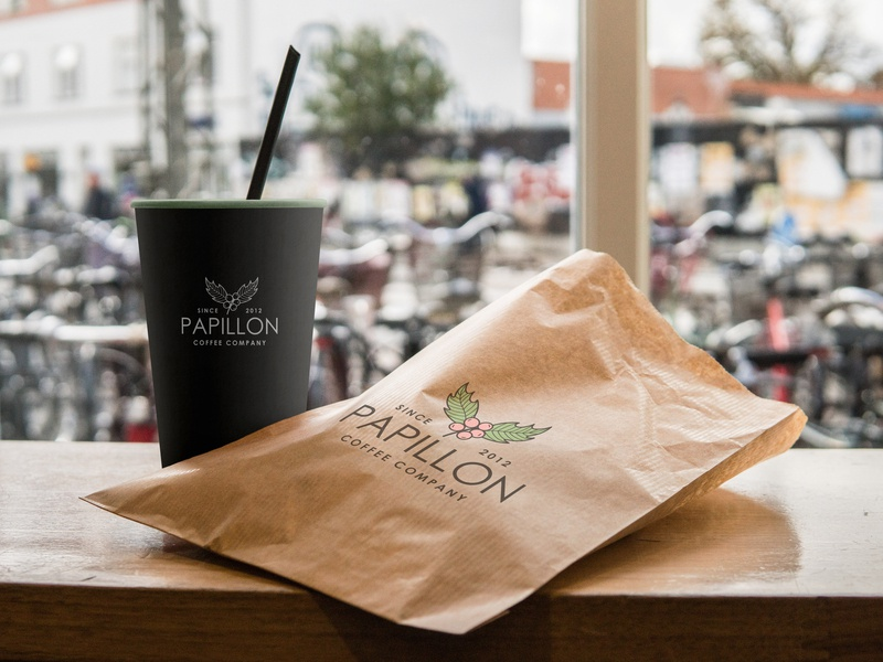 Papillon vector type minimal illustrator identity typography papillon logo flat design coffee branding