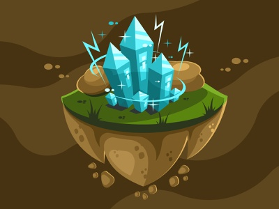 Crystals and stones nature colorful magic glass blue icon landscape island mineral rock jewel game treasure element symbol vector diamond illustration crystal stone