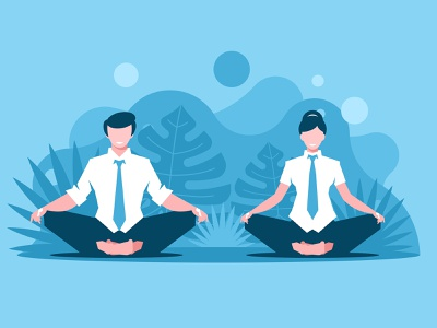 Man and woman doing joga people meditate health guy care male sport healthy pose zen fitness body lotus exercise illustraion vector relaxation balance meditation yoga