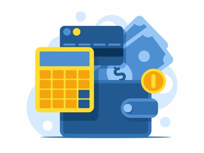 Financial investment concept tax accounting office economy bill banking concept debt pay business card calculator payment vector illustration bank finance money credit wallet