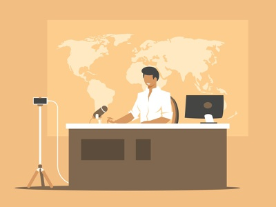 Online broadcasting presenter people reporter global entertainment male journalist journalism announcement breaking press character professional presenter communication vector illustration camera broadcast interview video