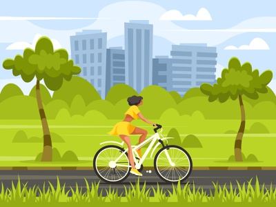 Woman on bicycle in the park cycle exercise rider happy outdoor lifestyle ride young girl city active cartoon illustration vector park leisure sport bike woman bicycle