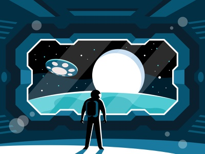 Astronaut stands in a spaceship astronomy planet exploration galaxy flight explorer rocket universe cosmo spaceman travel future vector illustration standing space spaceship science astronaut star