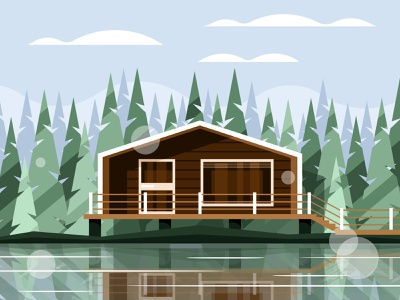 Modern house on the lake living exterior water estate bushes yard tree residential spruce architecture building landscape luxury illustration vector property lake modern home house