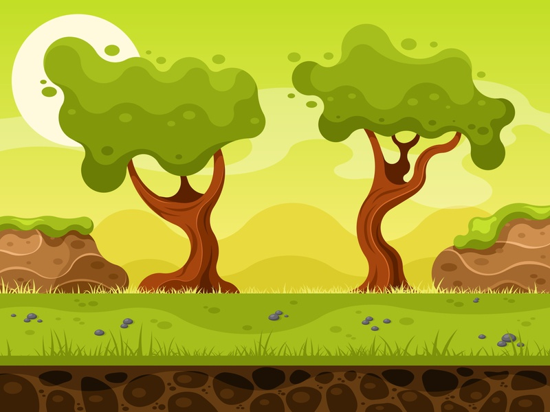 Nature landscape for 2d game design tree level ui gaming grass soil gui animation landscape nature interface vector illustration ground background 2d cartoon sky game