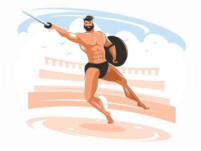 Gladiator in the arena man power shield ancient muscular weapon armor arena strength sword helmet warrior male illustration vector empire history rome roman gladiator