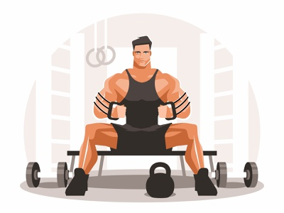 Athlete trains with an expander sporty fit sport healthy expander equipment strength exercise biceps workout illustration vector muscular training bodybuilder gym strong fitness muscle athlete