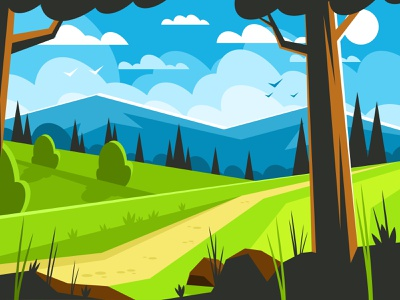 Path along the forest edge path park background view rock summer season beautiful outdoor green meadow grass sky vector illustration landscape nature forest tree mountain