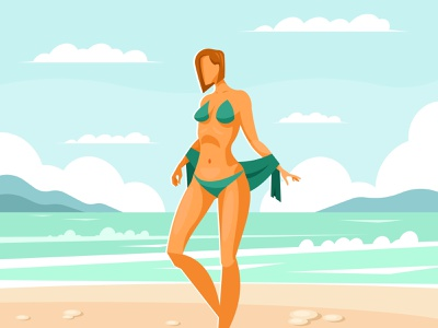 Girl on the beach beauty vacation bikini beautiful fashion female sexy young illustration vector sky summer travel lady water ocean sea girl woman beach