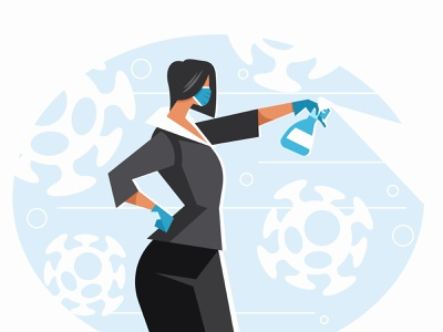 Woman sanitizing with alcohol safety people bacteria wuhan blue hygiene risk mask face illustration vector pneumonia disease prevention sanitize covid-19 covid virus protection coronavirus