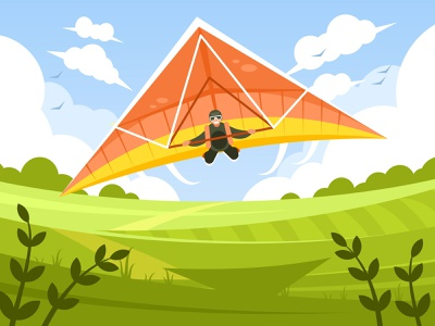 Man flying on hang-glider adrenaline glide activity wind leisure outdoor paraglide recreation wing gliding person extreme vector illustration fly man sky sport glider hang