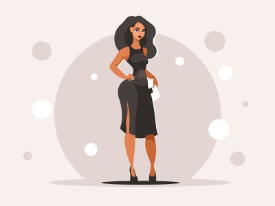 Woman in black dress illustration vector celebrities woman girl beautiful
