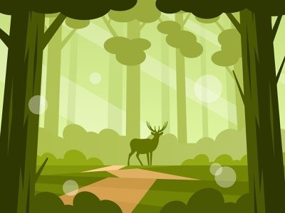 Silhouette of deer animals nature illustration vector path tree