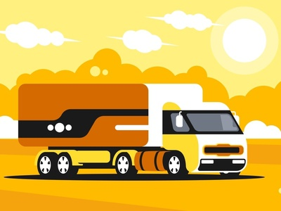 Truck Driving On Asphalt Road