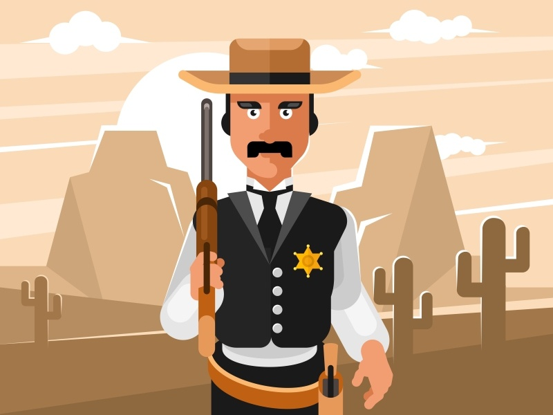Sheriff wild west vector tombstone illustration hat handgun gunslinger gunfighter gun fighting danger cowboy country competition character bullet wild west shotgun cartoon sheriff