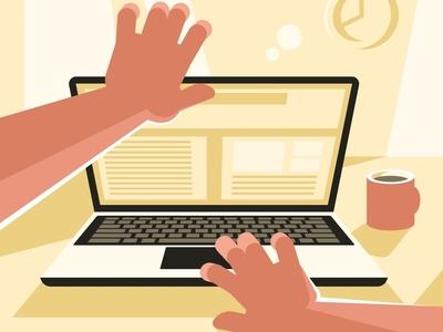 Man opening a laptop