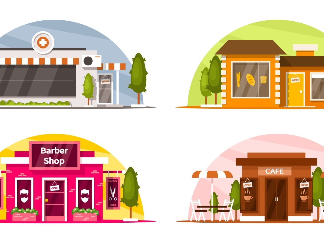 Set Of Small Shops leisure vector building table chair umbrella tea coffee comb scissors medicines loaf bread tree window shop cafe barber shop bakery pharmacy