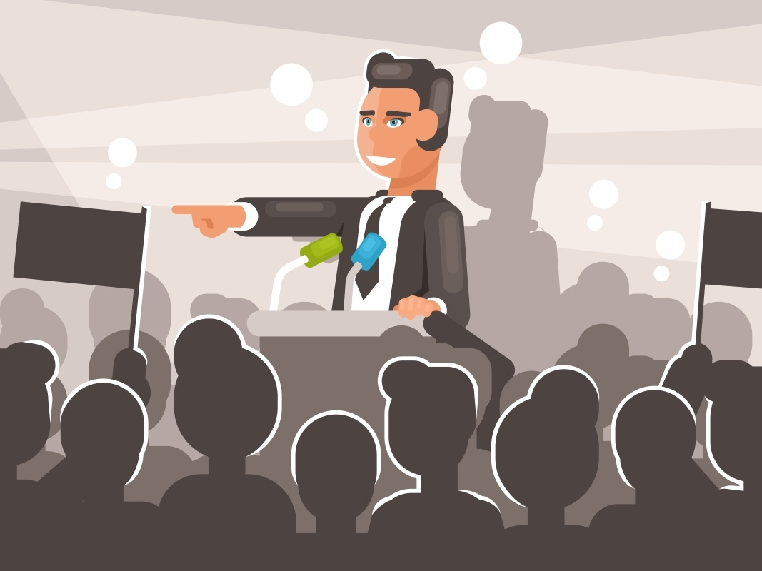 Political election campaign vector speaking speaker public person business government equal emotional discussion debate conference communication choice candidate argument speech politician election campaign