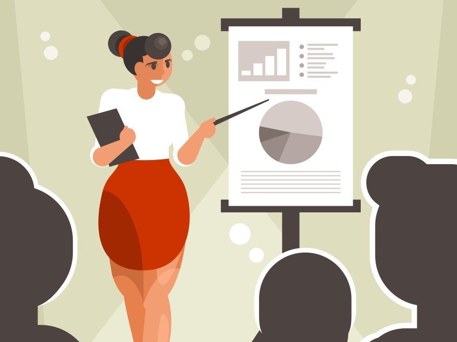 Business woman presens report banner economics drawing corporate conference colleagues businessman boss board beautiful adult woman presentation girl female business speech report chart businesswoman