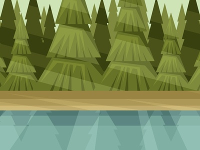 River bank on the forest background