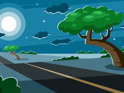 Growing tree near a road at night vector agriculture field fertility exterior effect deserted countryside copse conservation car calmness calm bush botany awe sky clouds tree road