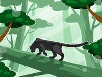 Black panther walking on a tree