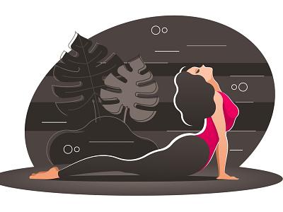 Woman Practicing Yoga female exercising concentration beautiful balance gym pilates mediation relaxation asana aerobics cobra athletic vector fitness gymnastic body woman girl yoga