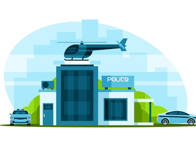 Police station with helicopter