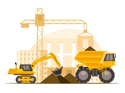 Construction machinery at construction site