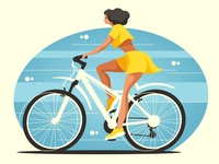 Beautiful woman on a bicycle
