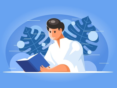 Man reading a book vector holding learning university hobby happy handsome lesson learn guy education novel concentration illustration library study book reading student man
