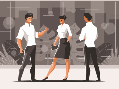 Three talking office workers career discussion people working office workplace worker work businesspeople llustration vector man woman manager businesswoman businessman business job adult talking