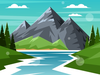 River on a background of mountains blue alps siberia stone crag nature pine tree scenery view desolate illustration vector summer highlands forest peak rock river mountain