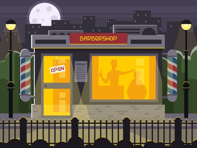 Barber shop building at night hairstyle haircut fashion hairdressing hairdresser stylist hair door destination community commercial city business illustration vector building boutique barbershop barber architecture