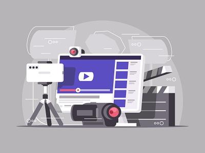 Video content production concept video service network live mobile online flat seo gadget channel vector illustration streaming camera recording internet vlog blog blogging stream