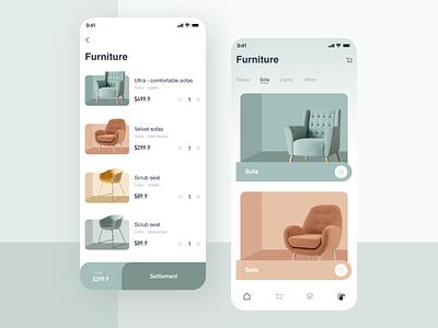 Furniture page UI app 插图 设计 ux ui