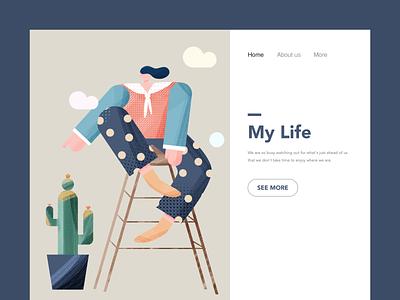 Illustration of life typography 插图 设计 ui