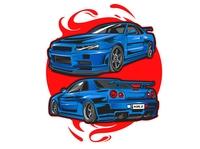Nissan skyline japanese concept illustration
