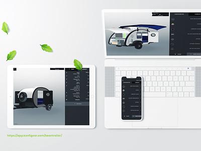 Beantrailer - Camping & Van trailer 3d configurator ux logo app ui configurator user interface design product configurator product customizer 3d web rendering 3d configurator