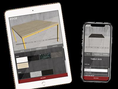 Furniture product configurator web app ux design user interface design 3d web rendering coffee table dining table ui configurator customizer product 3d configurator product configurator