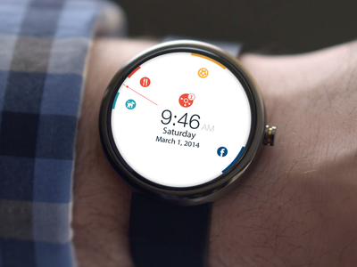 Calendar App - Android wear wearable iwatch android wear calendar app flat watch clock concept design