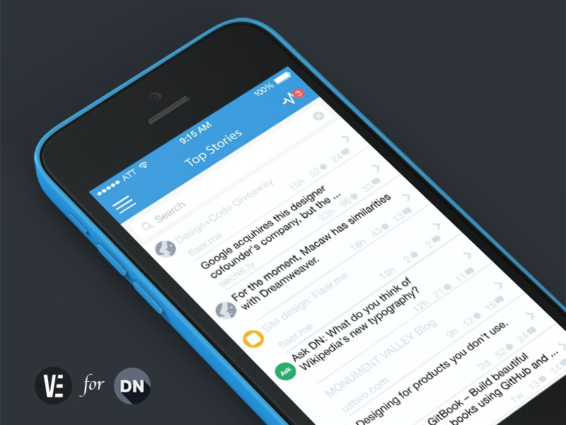 Designer News for iOS ios7 flat designer news dn iphone tableview home screen
