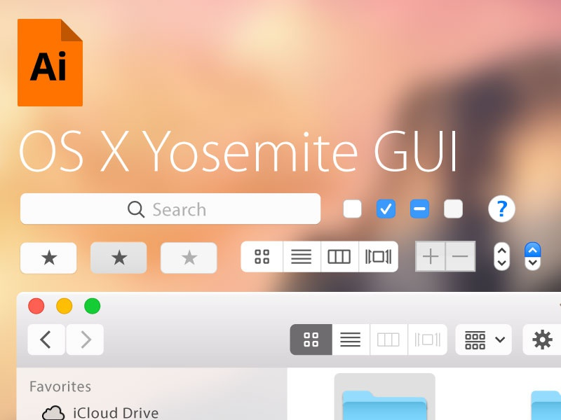 Free Yosemite GUI for Illustrator osx yosemite free freebie gui ui illustrator vector mockup template