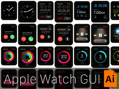 Vector Apple Watch GUI  apple watch ios8 gui freebie free vector illustrator template resources