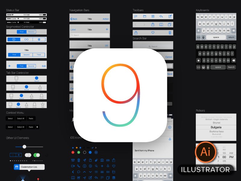 Free iOS9 Vector GUI Template for Illustrator vector ios ux ui ai illustrator template ipad iphone ios9 freebie